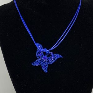 Rhinestone Butterfly Pendant Necklace Blue Costume
